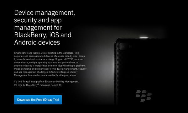 BlackBerry Enterprise Service 10 Enterprise Mobility Management Solution
