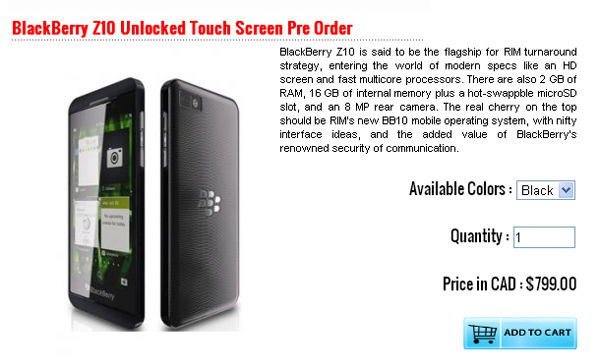 BlackBerry Z10 Unlocked Touch Screen Pre Order 01