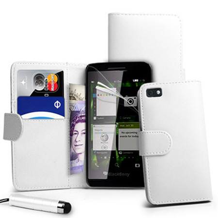 Wallet-Leather-Case-Cover-For-BlackBerry-Z10-BB-10+-Film-+-Stylus-White