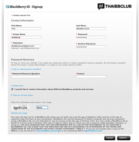 blackberry-id-Signup