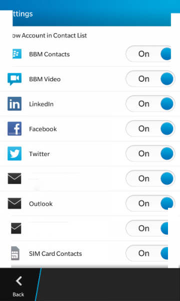 Contacts settings