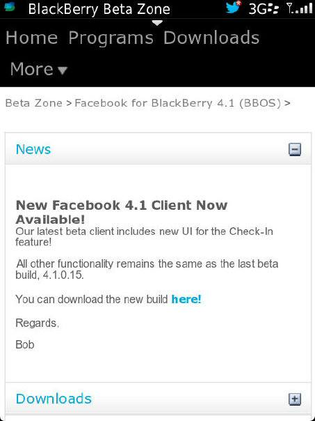 facebook for blackberry beta zone 4.1.0.18